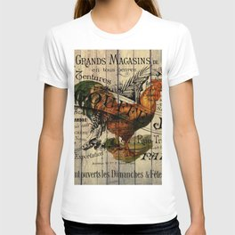 vintage typography barn wood shabby french country poulet chicken rooster T-shirt