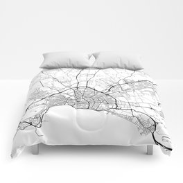 Palma Map, Spain - Black and White Comforters