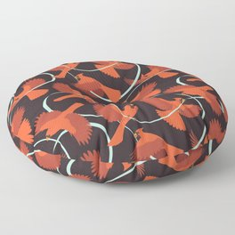 Cardinals with Ribbon Floor Pillow