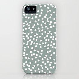 Medium Gray Green and White Polka Dot Pattern iPhone Case