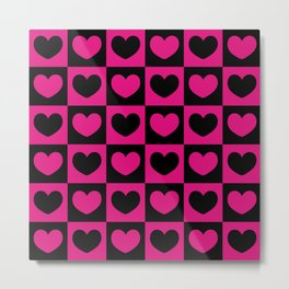 Pink and Black Hearts Checkered Pattern Metal Print