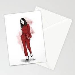 Lady in red Stationery Cards