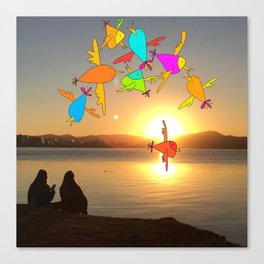 Sunset birds Canvas Print