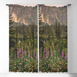 Mount Rainier Wildflower Adventure VI - Pacific Northwest Mountain Forest Wanderlust Blackout Curtain