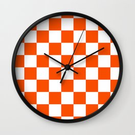 Checkered - White and Dark Orange Wall Clock