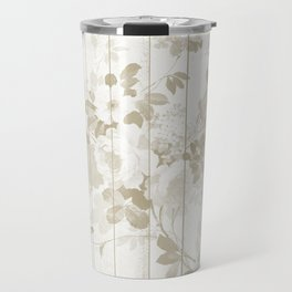 Rustic vintage white wood bohemian brown floral Travel Mug