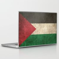 palestine Laptop & iPad Skins featuring Old and Worn Distressed Vintage Flag of Palestine by Jeff Bartels