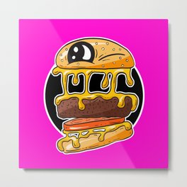 Fast Food FRENZY - Cheezy Tom HOT PINK Metal Print
