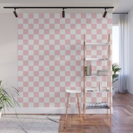 Large White and Light Millennial Pink Pastel Color Checkerboard Wall Mural