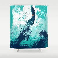 squid Shower Curtains featuring Squid Splash by Steven Toang