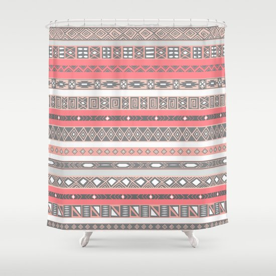 Aztec Print Peach Rose Salmon Grey Shower Curtain By