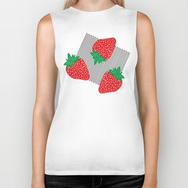 Cream Strawberries Pattern Biker Tank