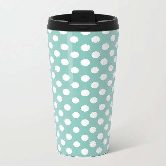 Beautiful HOME- Girls just wanna have dots - turquoise Metal Travel Mug