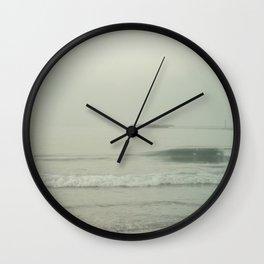 Morning Fog at Wrightsville Beach Jetty Wall Clock