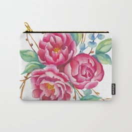 Watercolor flower composition with peonies and branches Carry-All Pouch