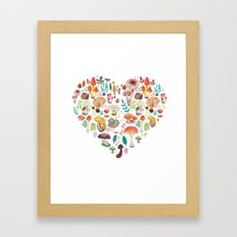 Mushroom heart Framed Art Print