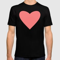 Coral Heart Black Mens Fitted Tee SMALL