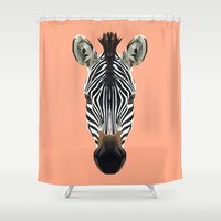 polygon Shower Curtains featuring Polygon Zebra by peachandguava