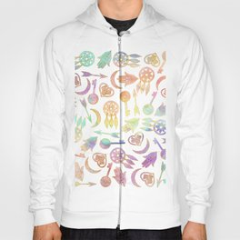 Watercolor and Gold Popular Symbols on White Hoody