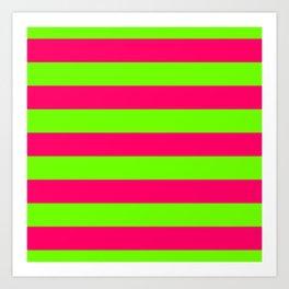 Bright Neon Green and Pink Horizontal Cabana Tent Stripes Art Print