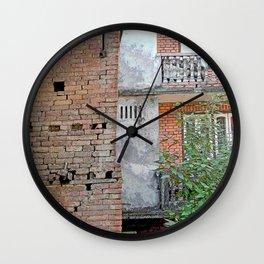 VINTAGE RED BRICK WALLS AND WINDOWS BHAKTAPUR NEPAL Wall Clock