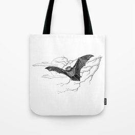 """Night Flight"" Bat Halloween Pen and Ink Study Tote Bag"