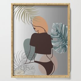 Set of tropical beauty. Women in elegant line art style. Monstera and palm leaves background. No 3/3 Serving Tray