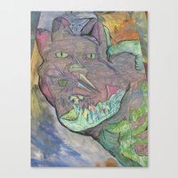 psychadelic Canvas Prints featuring Psychadelic Cat  by wyattxavier