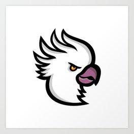 Crested Cockatoo Head Mascot Art Print