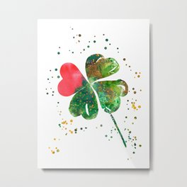 Heart with four-leaf clovers Metal Print