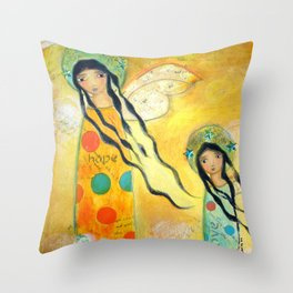 Hope and Love Angels by Flor Larios Throw Pillow