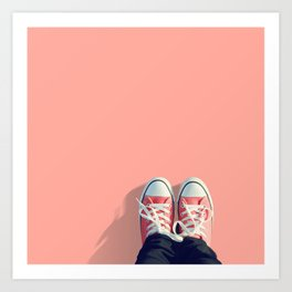Pink sneakers on a peach-pink colored background. Ready for a walk? Art Print