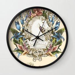 Vintage Floral Horse Crest Wall Clock