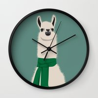 lama Wall Clocks featuring Lama by Ronja Levinsson