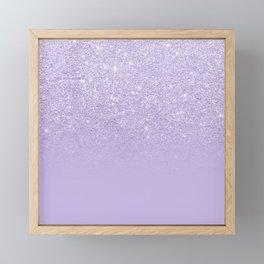Stylish purple lavender glitter ombre color block Framed Mini Art Print