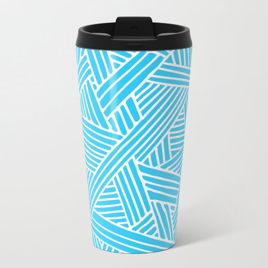 Abstract Teal & white Lines and Triangles Pattern-Mix and Match with Simplicity of Life #Society6 Metal Travel Mug