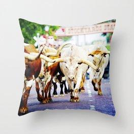 Texas Stockyards Throw Pillow