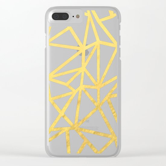 Abstract Outline Thick Gold Clear iPhone Case