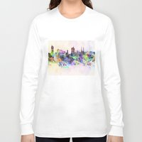 vienna Long Sleeve T-shirts featuring Vienna skyline in watercolor background by Paulrommer