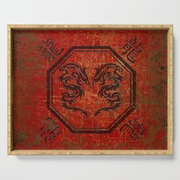 Distressed Dueling Dragons in Octagon Frame With Chinese Dragon Characters Serving Tray