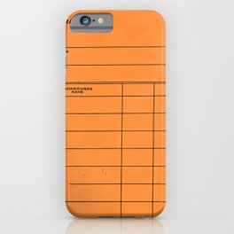 Library Card BSS 28 Orange iPhone Case