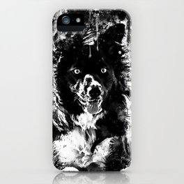 border collie dog lying down watercolor splatters black white iPhone Case