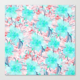 Watercolor turquoise pink hand painted floral Canvas Print