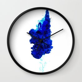 INDIAN INK IN WATER / COBALT Wall Clock