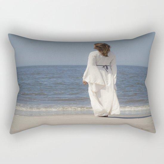 Lady in White Rectangular Pillow
