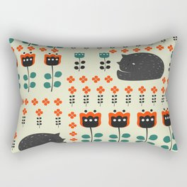 Cats napping between flowers Rectangular Pillow