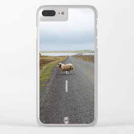 Sheep Crossing in Iceland Clear iPhone Case