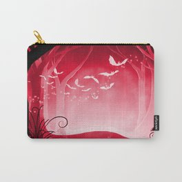 Dark Forest at Dawn in Ruby Carry-All Pouch
