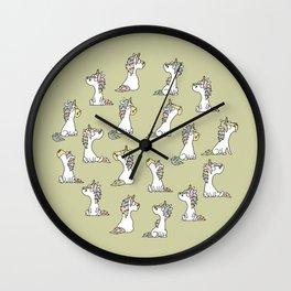 Little unicorn with friends - pastel green Wall Clock