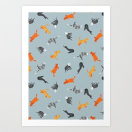 Cat Pattern | Grey-Blue Background | Cats Illustration Art Print